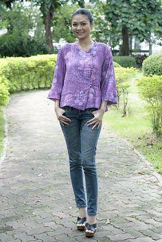 30 SALEM245Rainflower  Beautiful batik pleats cotton by giftbywish, $21.00