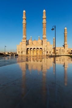 Al Saleh Mosque is the largest and most modern mosque in Sana'a, Yemen