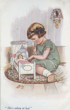Vintage girl -NBRISLEY-1073-2 Young girl and her dolly bed