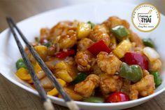 Pollo agridulce al estilo chino tradicional.