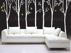 """On Sale- Tree Decals Living Room Trees Wall Decal Office Trees Wall Decors Vinyl Wall Art - 7 Big Cool Trees(88"""" H) -Tree Wall Murals"""
