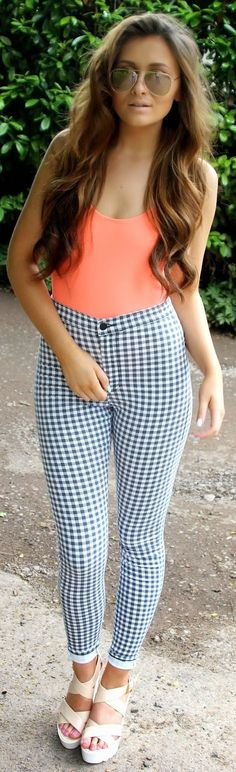 Forever 21 Blue And White Gingham Ankle High Waisted Skinny Trousers