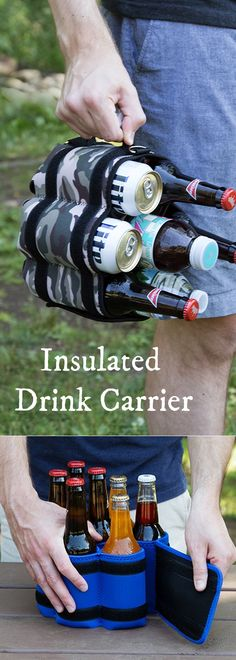 Transport up to seven drinks, singlehandedly. Wrap bottles or cans in the insulated neoprene, and tension keeps them tightly in place.