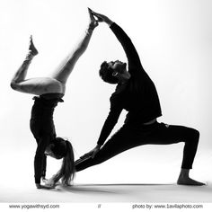 Partner yoga pose; handstand and reversed warrior two pose. | yoga goals | black and white photography | yoga photography | yoga inspiration |