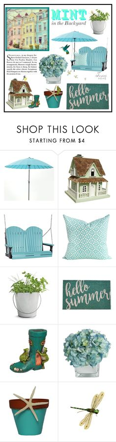 """Mint in the Backyard"" by tosini ❤ liked on Polyvore featuring interior, interiors, interior design, home, home decor, interior decorating, Frontgate, DutchCrafters, Potting Shed Creations and Harman"