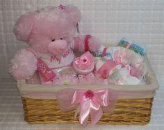 ♥♥ Windeltorte rosa Babygeschenk XL Teddy Geschenkkorb Geschenk Geburt Taufe ♥♥