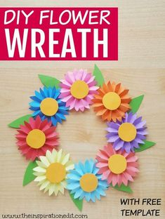 DIY Spring Flower Craft Wreath The Inspiration Edit Simple spring flower craft is a fun and easy flower wreath tutorial Using only a few materials you will love this simple craft It s both Paper Flower Wreaths, Easy Paper Flowers, Paper Flower Tutorial, Flower Crafts, Wreath Tutorial, Fake Flowers, Diy Flowers, Mothers Day Crafts For Kids, Crafts For Seniors