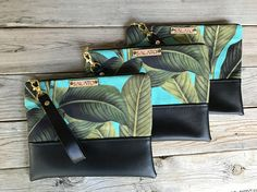 Leather Clutch Palm Leaf Print Canvas and Leather Clutch