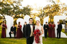 Bridal party in front of our LOVE letters // Tank Goodness Photography