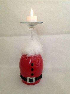 30 Cheap and Easy Homemade Wine Glasses Christmas Candle Holders - Christmas wine glass candle holder ; DIY Home Decor Ideas; Christmas Crafts For Kids, Xmas Crafts, Diy Christmas Gifts, Cheap Christmas, Santa Christmas, Diy Crafts, Christmas Wine Glasses, Wine Glass Candle Holder, Glass Candle Holders