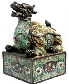 Antique impotant Chinese Imperial Bronze Cloisonne Seal. Chinese Dragon, Chinese Art, Bronze, Foo Dog, Oriental Pattern, Art Nouveau, China, Fish Art, Chinese Culture