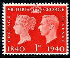 Stamp: Centenary postage stamp (United Kingdom of Great Britain & Northern Ireland) (King George VI - Centenary of Postage Stamp) Mi:GB 210 Uk Stamps, Postage Stamps, Kingdom Of Great Britain, Republic Of Ireland, King George, Stamp Collecting, British Isles, Northern Ireland, Hand Lettering