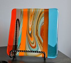 Shades of the Southwest Fused Glass Plate by dortdesigns on Etsy, $16.00