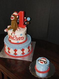 Sock Monkey Cake with personal size cake for the birthday boy!