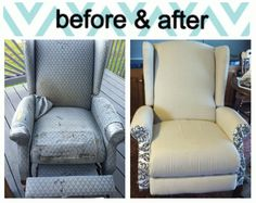 Beau Reupholstered Recliner From The Curb. Total Cost For Project: $22! (: Used