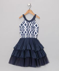 Indigo Ikat Tiered Dress from Masala Baby on #zulily