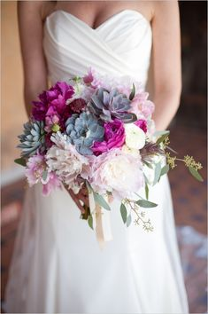 pink and purple and succulent wedding bouquet