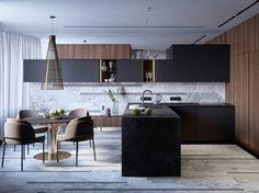 New kitchen black wood modern interior design Ideas Wood Interior Design, Contemporary Interior Design, Modern Kitchen Design, Contemporary Bedroom, Contemporary Office, Contemporary Garden, Bedroom Modern, Interior Doors, Contemporary Building