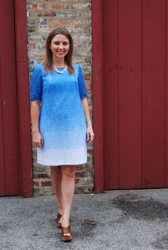 Self-dyed with Rit for ombre effect how-to. Lovely woven pattern comes through in the fabric.