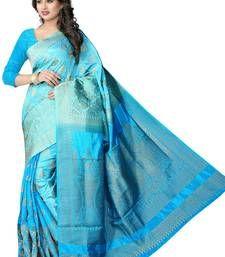 Buy light blue hand woven banarasi silk saree with blouse banarasi-silk-saree online