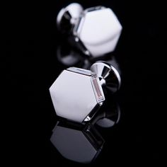 White Crystal Edged Cufflinks