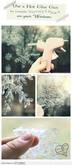 Hot Glue Snowflakes for Your Windows - 15 Beautiful DIY Snowflake Decorations for Winter Diy Snowflake Decorations, Christmas Decorations, Diy Snowflakes, Christmas Ideas, Xmas, Diy Paper, Paper Crafts, Snow Flakes Diy, Diy Inspiration