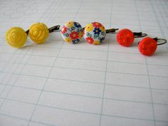 Retro Cab Earrings Trio No 10  yellow floral embossed by ikeandco, $18.00