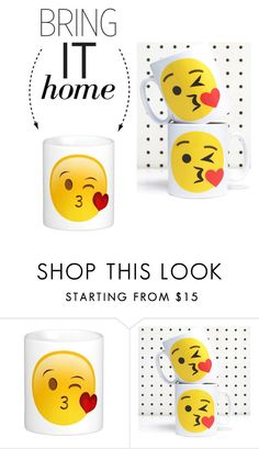 """""""Bring It Home: Blow a Kiss Emoji Mug"""" by polyvore-editorial ❤ liked on Polyvore featuring interior, interiors, interior design, home, home decor, interior decorating and bringithome"""