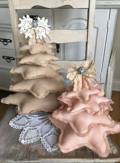 Set of 2 fabric christmas trees / Made to by TatteredTreasures1