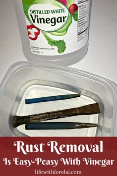 Rust Removal Is Easy-Peasy With Vinegar Got rusty tools? Rust removal is quick and easy with vinegar. Learn how to clean-up and de-rust your tools in a couple simple steps. Deep Cleaning Tips, House Cleaning Tips, Spring Cleaning, Cleaning Hacks, Cleaning Rusty Tools, Clean Tools, Daily Cleaning, Cleaning Products, Diy Hacks