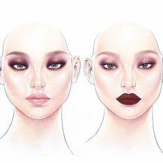 눈에 원포인트 립에 원포인트 질감도 반대로 #정샘물 #하니메이크업 #jungsaemmool #beautyillustration #illustration #facechart #drawing #cosmetic #kbeauty #orense #jsmbeauty #템팅앤클래시 #KoreanMakeupProducts