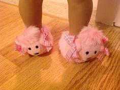 Trendy Dolls - Poodle Slippers for 18 inch American Girl Dolls, $7.50 (http://www.mytrendydoll.com/18-inch-doll-clothes/sleepwear/poodle-slippers-for-18-inch-american-girl-dolls/)
