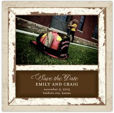 Firefighter rustic Save the Date Engagement. Photo by Ken Doll Photography