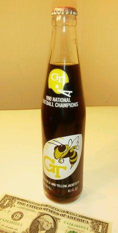 1990 GA TECH NATIONAL CHAMPIONS COKE COCA COLA FULL BOTTLE GT FOOTBALL