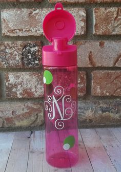 Pink Scroll Monogrammed 22 oz. Tumbler with Whimsical Lime Green & White Dots,  Personalized Water Bottle