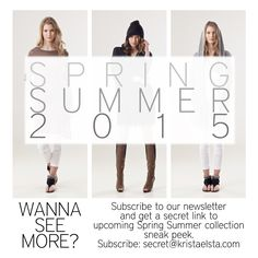 Are you curious of Krista Elsta knitwear upcoming Spring Summer 2015 collection? Subscribe to our newsletter and get a secret sneak peek link. Email address for subscribers: secret@kristaelsta.com  Psst! Just don't tell anyone.