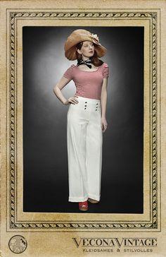 Marlene Pants LEINEN LOS! cream at Vecona Vintage