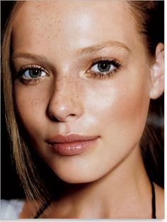 Beautiful - touch of illuminator, darkest brown mascara and touch of lipgloss. Love the freckles too!