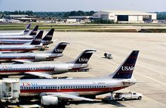 Old US Airways fleet Us Airways, Old Planes, Commercial Aircraft, Aviation Art, Airports, Fire Trucks, Airplanes, 1990s, Air Force