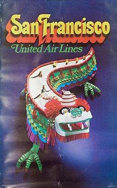 Vintage Travel Poster - United Airlines, San Francisco  - 1971