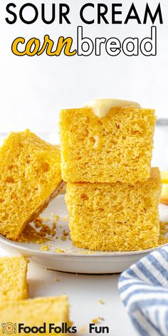 This cornbread is the perfect side dish for almost any meal. It's super easy to make, the entire family loves it, and it's simply the best! For more easy cornbread recipes follow Food Folks and Fun! Cream Corn Bread, Sour Cream Cornbread, Easy Cornbread Recipe, Appetizer Recipes, Snack Recipes, Dessert Recipes, Best Dinner Recipes, Holiday Recipes, Good Food