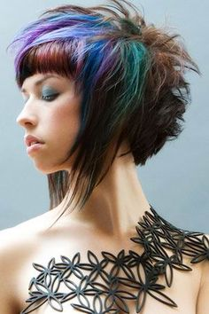 apparently this is an emo haircut - i love the color combo.