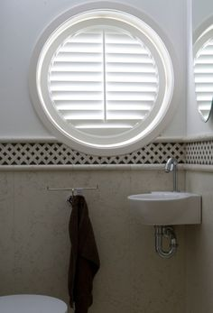Shutters for special shaped windows Indoor Shutters, Interior Window Shutters, Interior Windows, Bathroom Window Treatments, Bathroom Windows, Octagon Window, Store Venitien, Best Interior Design Websites, Houses