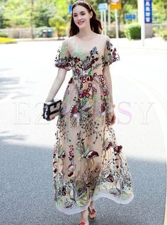 Shop for high quality Ethnic Embroidered See Through Short Sleeve Maxi Dress Wit…, You can collect images you discovered organize them, add your own ideas to your collections and share with other people. Maxi Outfits, Summer Outfits, Maxi Dresses, Summer Dresses, Trendy Dresses, Nice Dresses, Dresses With Sleeves, Fashion Vestidos, Women's Fashion Dresses