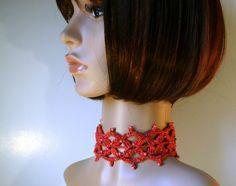 Crochet necklace choker Coral  crochet by KazamarieDesigns on Etsy, €29.00