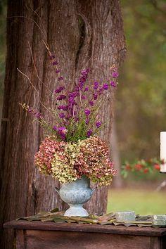 All Things Farmer: Wedding Flower Guide ~ Beautyberry and oakleaf hydrangea