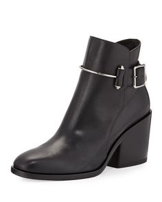 Leather Chunky-Heel Ankle Boot, Black by Balenciaga at Neiman Marcus.