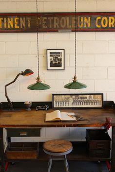 """Vintage Industrial 12"""" Green Porcelain Enamel Pendant Lights by DorsetFinds"""