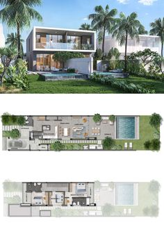 Narrow House Plans, Beach House Plans, Architecture Plan, Residential Architecture, Resort Plan, Villa Plan, Casa Loft, Architectural Floor Plans, Modern Villa Design