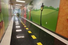 I think that hallways should be this way in hospitals....Mario themed hall, cars, princess castle with cobblestone looking floor, outer space...etc